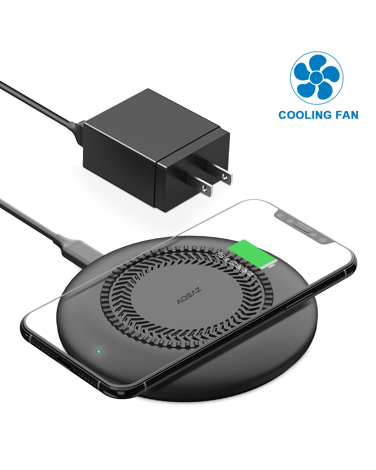 AIDEAZ Wireless Charger Charging Pad, with Light-Sensor & Fan, 7.5W/10W Fast Charger