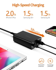AIDEAZ PowerCruiseLine 60W 5-Port Desktop Charger, USB-C Wall Charger, 30W Power Delivery Port for MacBook Air /iPad Pro 2018/ iPhone XSMax/XR/Galaxy