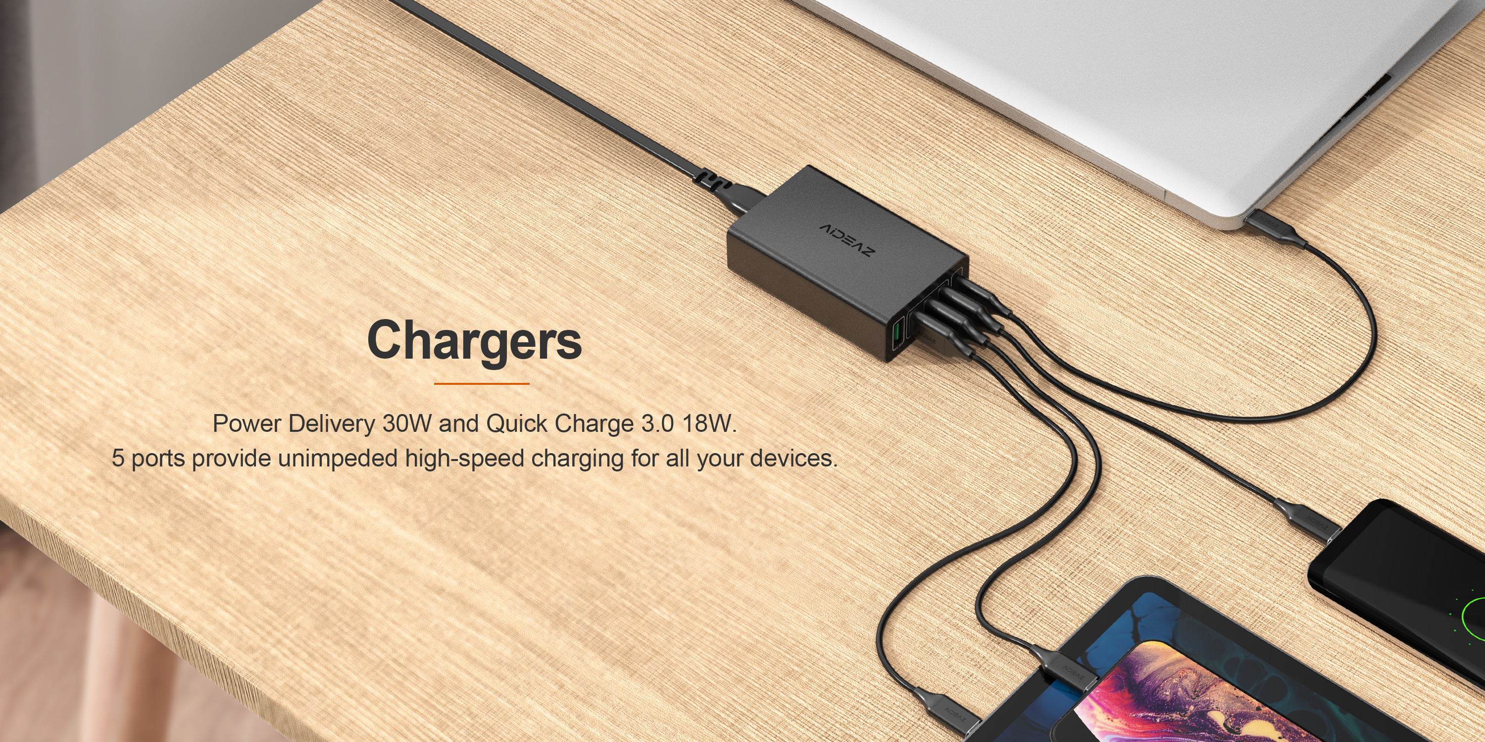 Aideaz Multi USB Charger with Maximum Output of 60W