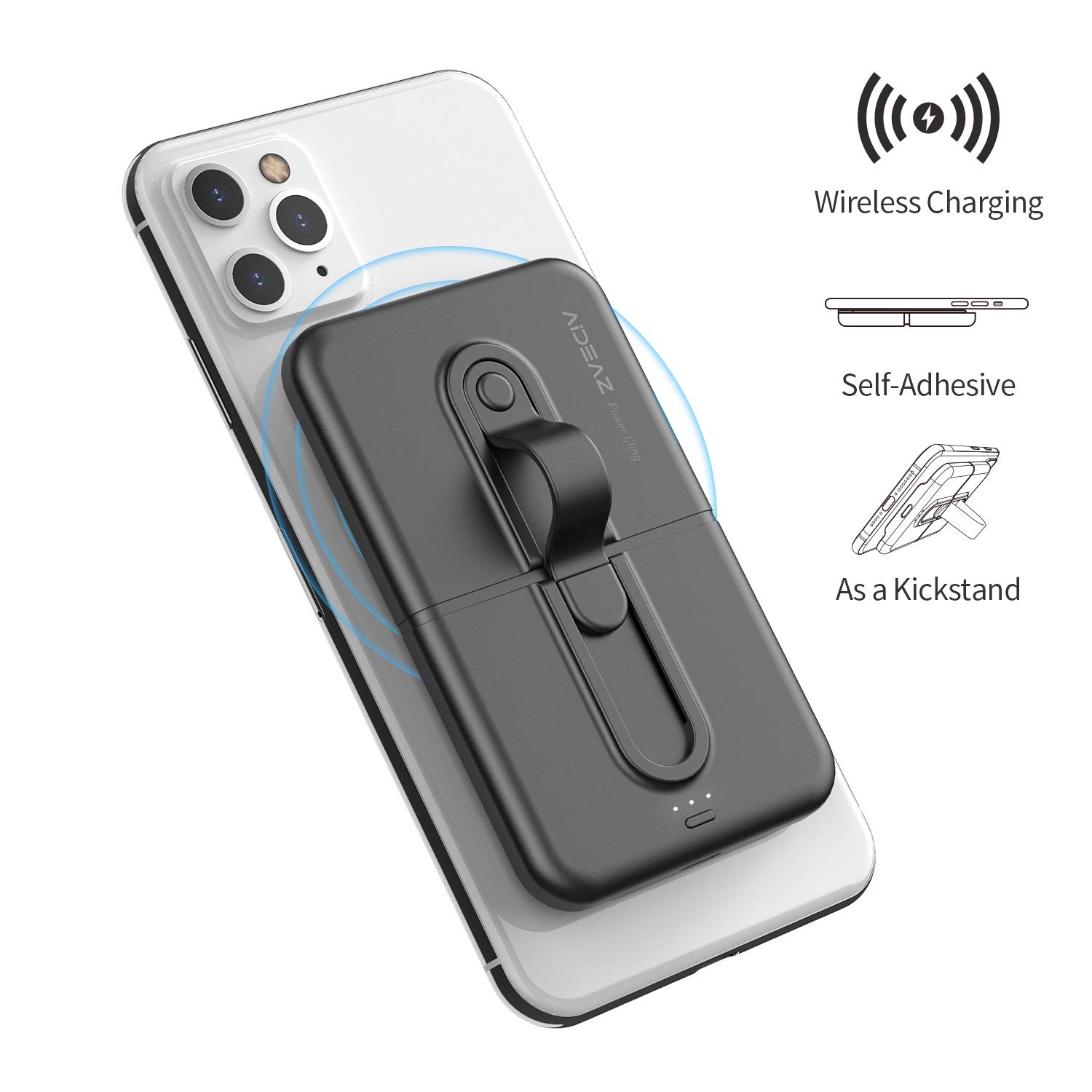AIDEAZ Wireless Power Bank Mini Portable Charger 5000mAh, with Phone Finger Ring Holder Stand Qi Wireless Charger
